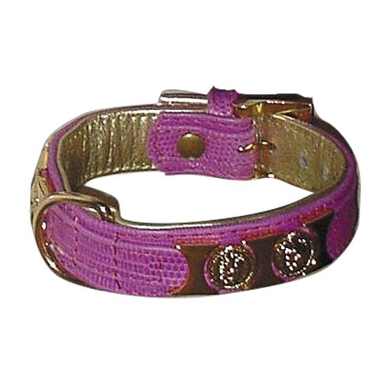 Billede af Eksklusivt hundehalsbånd i pink/guld