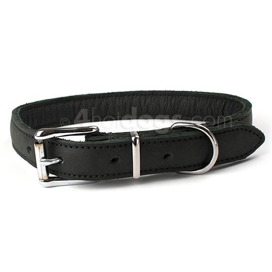 Billede af Fladt læder hundehalsbånd m. kromspænde