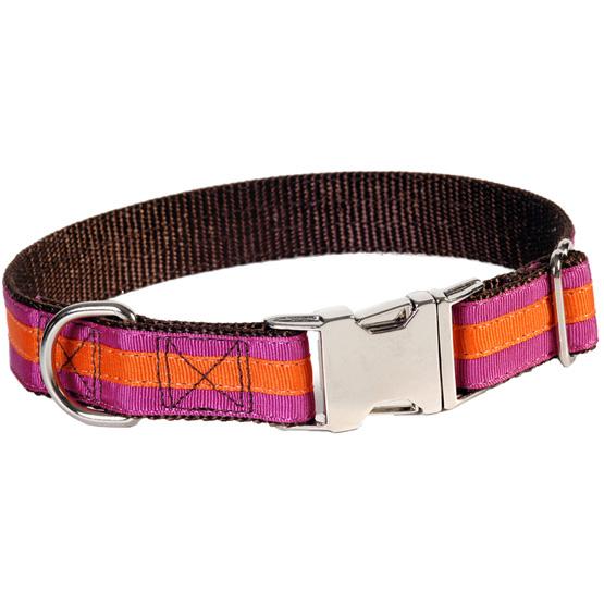 Billede af Stribet hundehalsbånd med metalspænde
