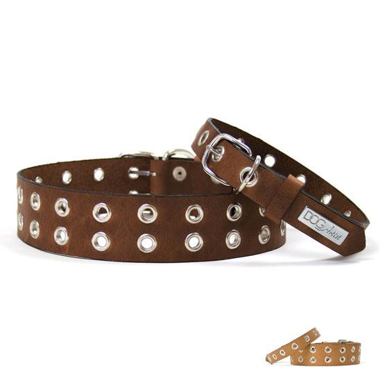 Billede af Rock læder hundehalsbånd - brun