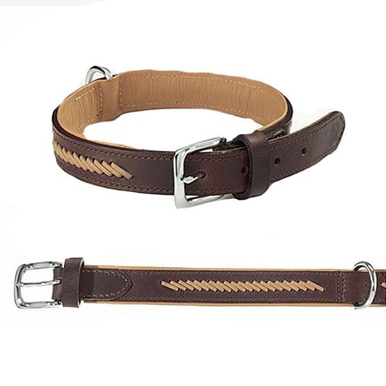 Image of Hundehalsbånd med læderstikninger