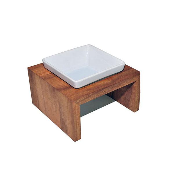 Image of Hunde Foder/vandskål i elegant holder