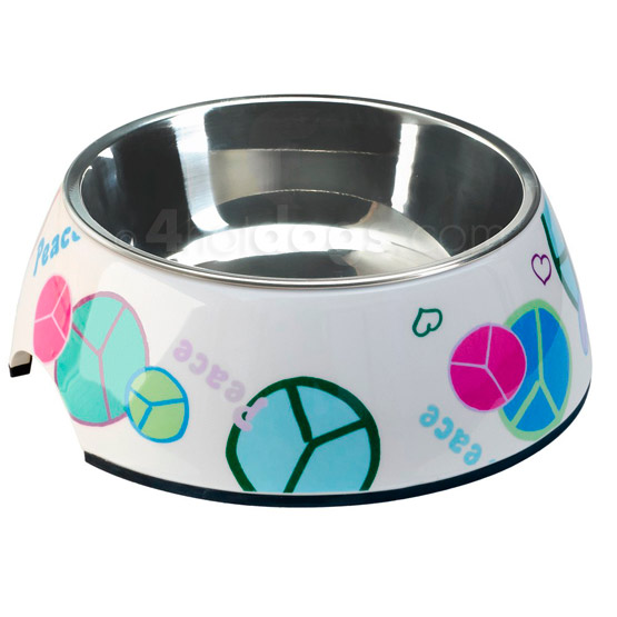 Billede af PEACE hundemadskål i melamin med inderskål