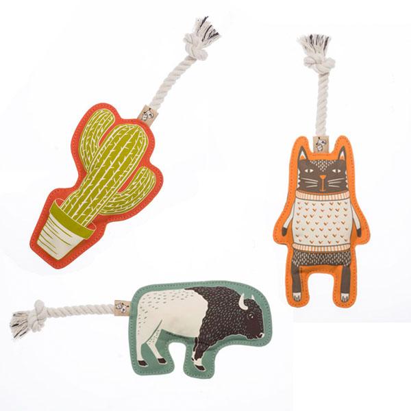 Hundelegetøj i canvas med reb og piv