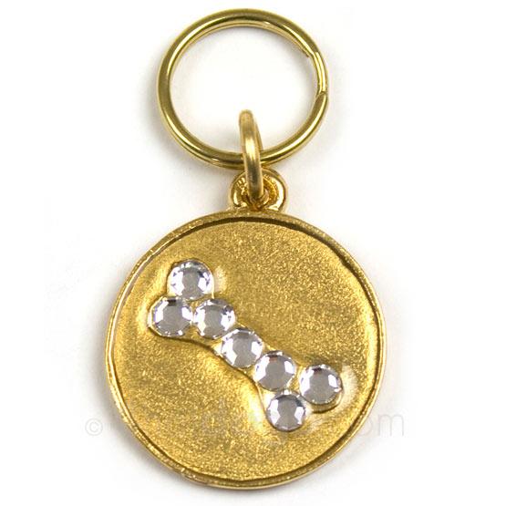 Billede af Guldfarvet hundetegn med krystalkødben