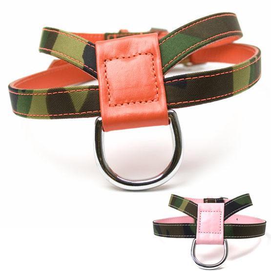 Billede af K hundesele i læder og fræk camouflage