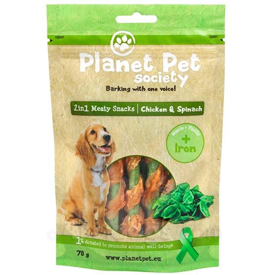 Image of Hundegodbidder, Planet Pet Treats Chicken & Spinach, 70g
