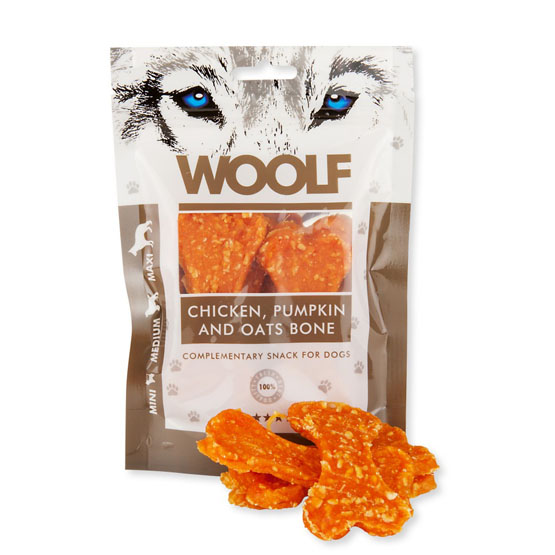 Image of   Hundegodbid Woolf kylling/græskar ben, 100g