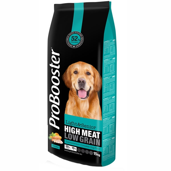 Probooster hundefoder, Light & senior, 15kg