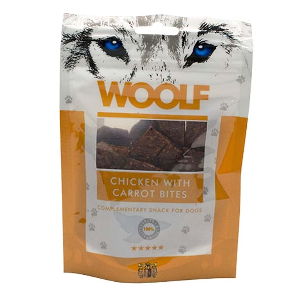 Hundegodbid Woolf kylling med gulerødder, 100g