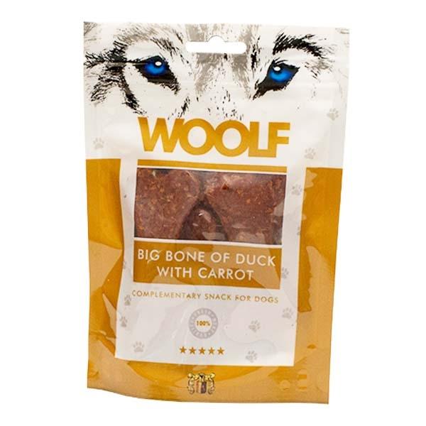 Billede af Hundegodbid Woolf kødbensformet med and/gulerødder, 100g