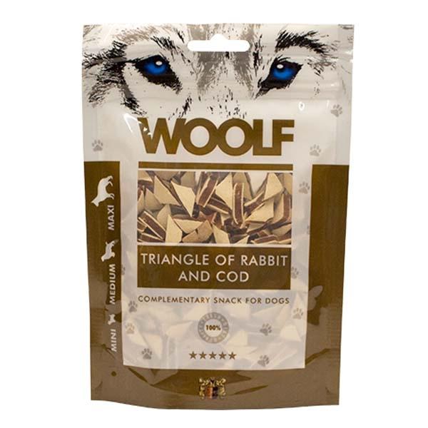 Image of Hundegodbid Woolf kanin/torsk trekant, 100g