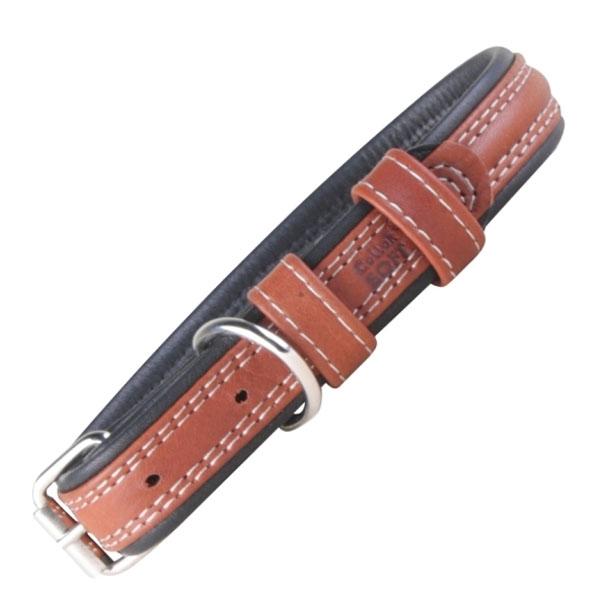 Soft læder hundehalsbånd brun/sort