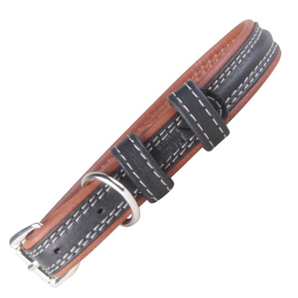 Soft læder hundehalsbånd sort/brun