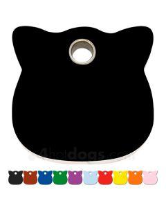 Kattetegn med kattehoved i hård plast 10 forskellige farver