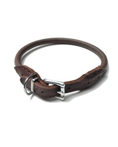 Kalvelæderhalsbånd, italiensk, håndlavet-Brun-XXS-8 mm