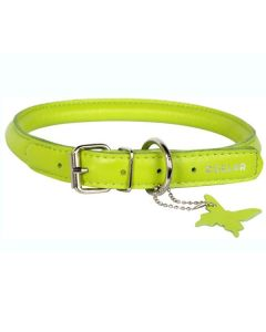 Rundsyet læderhalsbånd-Lime-XXS