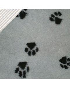 Hundetæppe - Vetbed med poter-Grå/sort